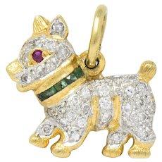 1980's 0.55 CTW Diamond Emerald Ruby 18 Karat Gold Scottie Terrier Charm