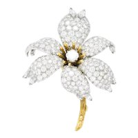 Schlumberger Tiffany & Co. Retro 10.90 CTW Diamond Platinum 18 Karat Gold Flower Brooch
