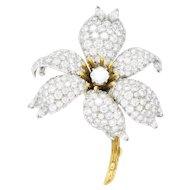 88fed8f57 Schlumberger Tiffany & Co. Retro 10.90 CTW Diamond Platinum 18 Karat Gold  Flower Brooch