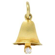 Retro Diamond 14 Karat Gold Articulated Bell Charm