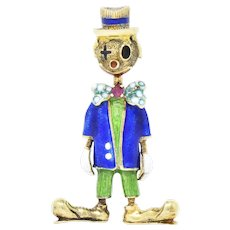 Retro Ruby Enamel 18 Karat Clown Scarecrow Brooch
