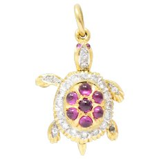 Circa 1980's Vintage 0.56 CTW Diamond Ruby 18 Karat Gold Turtle Charm