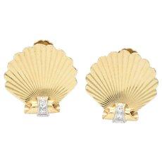 J.E. Caldwell Retro Diamond 14 Karat Gold Seashell Screw Back Earrings