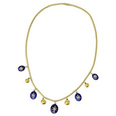 Victorian Circa 1870 Enamel Seed Pearl Diamond 18 Karat Gold Necklace