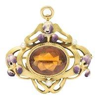 Krementz Art Nouveau Citrine Enamel Pearl 14 Karat Gold Pendant/Brooch