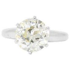 3.10 Carat Brilliant Cut Diamond Platinum Solitaire Engagement Ring GIA