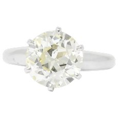 Striking 3.10 CTW Diamond Platinum Solitaire Engagement Ring GIA