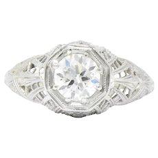 Edwardian 0.63 CTW Diamond 18 Karat White Gold Engagement Ring GIA