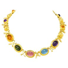 Paloma Picasso Tiffany & Co. 1983 Multi-Gem 18 Karat Gold Forever X Necklace
