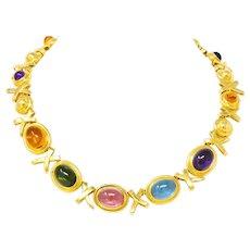 Paloma Picasso Tiffany & Co. 1983 Multi-Gem 18 Karat Gold Forever X Necklace