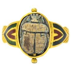 Egyptian Revival Scarab Enamel 14 Karat Gold Ring