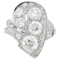 Retro 3.49 CTW Diamond Platinum Cocktail Ring
