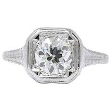 Art Deco 0.87 CTW Diamond Platinum Solitaire Engagement Ring