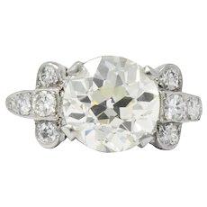 Art Deco 3.88 CTW Diamond Platinum Engagement Ring GIA
