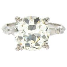 Retro 3.47 CTW Diamond Platinum Engagement Ring GIA