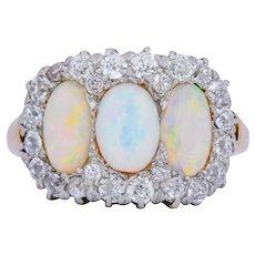 J.E. Caldwell Edwardian Opal Diamond Platinum 18 Karat Gold Ring