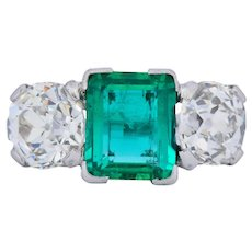 Art Deco 4.87 CTW Colombian Emerald Diamond Platinum Ring AGL