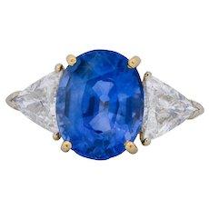 Vintage 6.80 CTW Ceylon Sapphire Diamond 18 Karat Gold Ring GIA