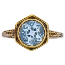 Edwardian 2.50 CTW Aquamarine 14 Karat Gold Ring