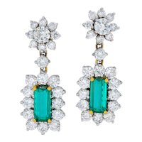 Retro 8.96 CTW Colombian Emerald Diamond Platinum-Topped 18 Karat Gold Drop Earrings AGL
