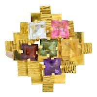 H. Stern 4.35 CTW Multi-Gem Tourmaline Amethyst Citrine Garnet 18 Karat Gold Cocktail Ring