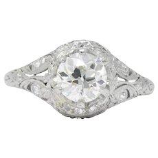 Edwardian 1.36 CTW Diamond Platinum Engagement Ring GIA