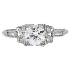 Art Deco 0.97 CTW Diamond Platinum Engagement Ring GIA