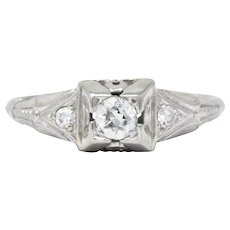 Retro 0.25 CTW Diamond 18 Karat White Gold Engagement Ring