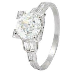 Art Deco 2.35 CTW Diamond Platinum Engagement Ring GIA