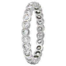 Art Deco 0.96 CTW Diamond Platinum Eternity Band Ring