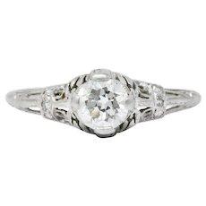 Art Deco 0.75 CTW Diamond Platinum Engagement Ring