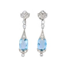 Edwardian 6.00 CTW Aquamarine Diamond Platinum Screw Back Drop Earrings