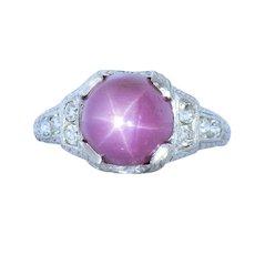 Art Deco 6.80 CTW Star Ruby Diamond Platinum Ring