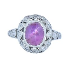 Edwardian 3.85 CTW Pink Star Sapphire Diamond Platinum Ring