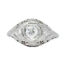 Art Deco 0.48 CTW Diamond 18 Karat White Gold Engagement Ring