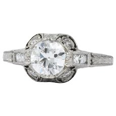 Edwardian 1.20 CTW Diamond Platinum Engagement Ring GIA