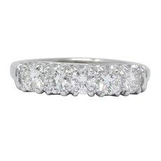 Retro 0.90 CTW Diamond Platinum Anniversary Band Ring