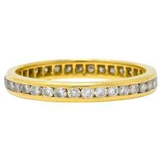 Contemporary 0.75 CTW Diamond 14 Karat Gold Eternity Band Stack Ring