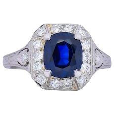 Art Deco 2.86 CTW No Heat Sapphire Diamond Platinum Ring AGL