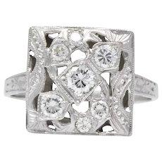 Art Deco 0.55 CTW Diamond 14 Karat White Gold Ring