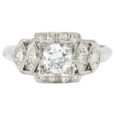 Late Art Deco 0.72 CTW Diamond Platinum Engagement Ring