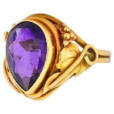 Arts & Crafts 5.75 CTW Amethyst 14 Karat Gold Ring