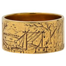 Antique 14 Karat Gold Etched Scenic Band Ring