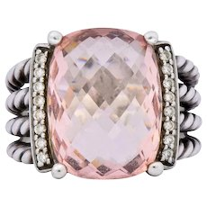 David Yurman Morganite Diamond Sterling Silver Large Cable Ring