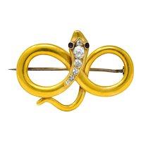 Victorian Diamond Ruby 18 Karat Gold Infinity Snake Brooch Circa 1900