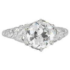 Edwardian 2.23 CTW Transitional Cut Diamond Platinum Engagement Ring GIA