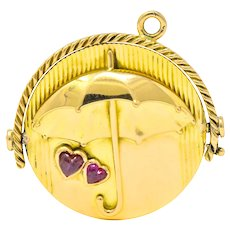 Tiffany & Co. Retro Diamond Ruby 18 Karat Gold French Spinning Umbrella Pendant Charm Circa 1950