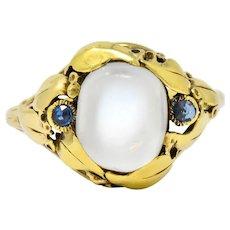 Art Nouveau Moonstone Sapphire 14 Karat Gold Ring Circa 1905