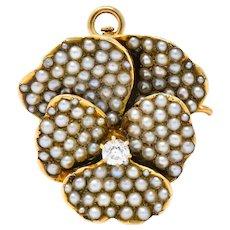 Riker Bros. Art Nouveau Diamond Seed Pearl 14 Karat Gold Pansy Flower Pendant Brooch