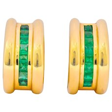 Vintage 2.40 CTW Emerald 14 Karat Yellow Gold J Hoop Earrings